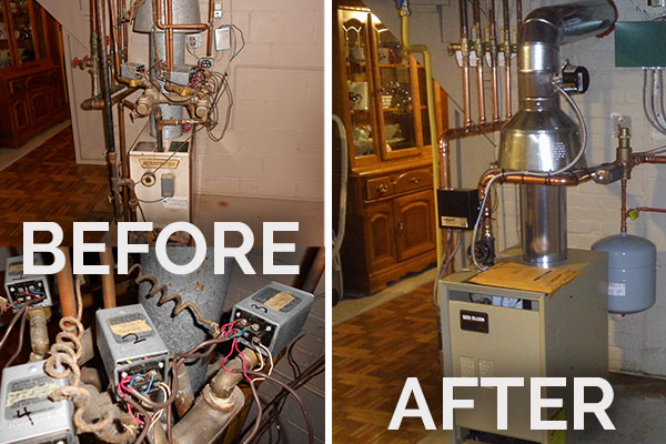 "This Pittsburgh, PA resident had their heating and air conditioning re-done by Phillips Heating & Air Conditioning. Before: An image of the existing boiler and a close-up of the existing ""zone valves"". The system never worked properly, so Phillips removed the problems and re-designed the system. After: The result was greater comfort and efficiency."