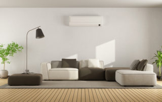 A minimalist living room uses a ductless heating system that was installed by Phillips Heating & Air Conditioning of Pittsburgh, PA.