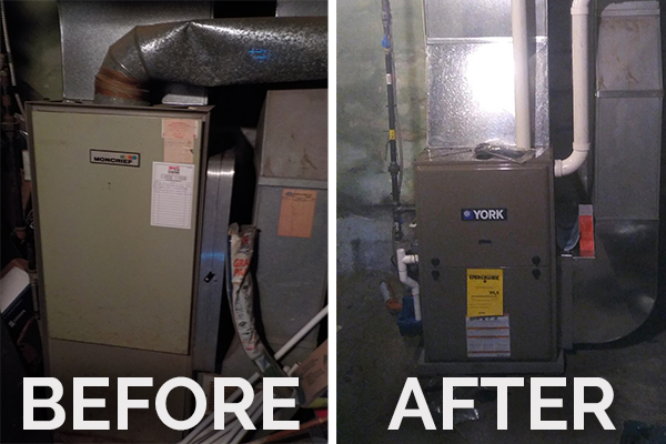 Before and After photos of a Kincaid furnace installation by Phillips Heating & Air Conditioning