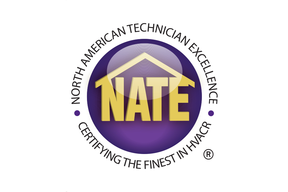 Certified logo for North American Technician Excellence (NATE), Certifying The Finest In HVACR